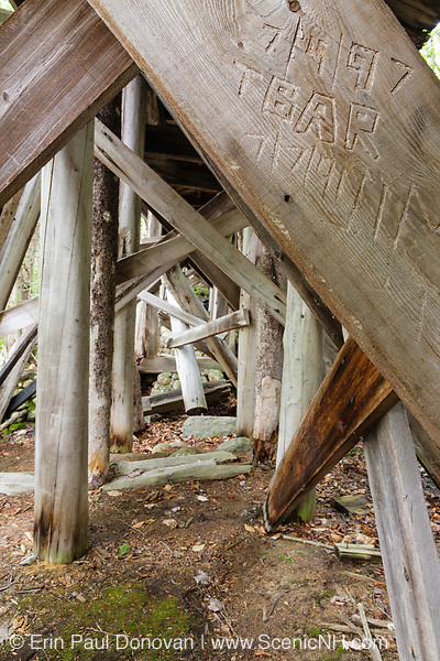 Initials carved into the suport beams of Trestle 16 (Black Brook Trestle) along the old East Branch & Lincoln Railroad (1893-1948) in the Pemigewasset Wilderness of Lincoln, New Hampshire.