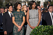 First Lady Michelle Obama (R) and Italian First Lady Agnese Landini (L)participate in an official arrival ceremony on the South Lawn of the White House in Washington DC, USA, 18 October 2016. Later today President Obama and First Lady Michelle Obama will host their final state dinner featuring celebrity chef Mario Batali and singer Gwen Stefani performing after dinner. <br /> Credit: Shawn Thew / Pool via CNP