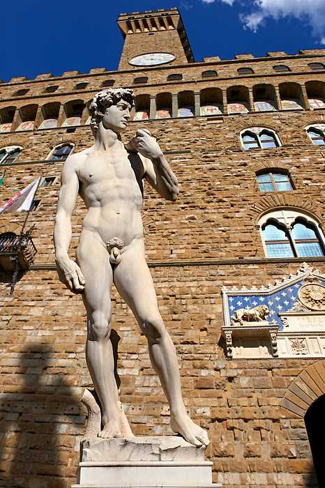 Renaissance sculpture created between 1501 and 1504, by the Italian artist Michelangelo.  In front of the Palazzo Vecchio ,  Piazza della Signoria in Florence, Italy,