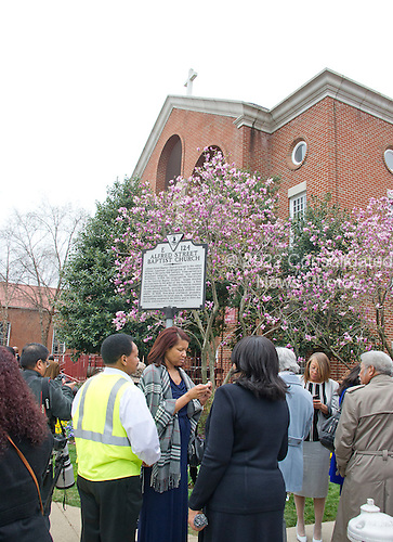 The historic Alfred Street Baptist Church in Alexandria, Virginia where United States President Barack Obama and the First Family are to to celebrate Easter on Sunday, March 27, 2016.<br /> Credit: Ron Sachs / Pool via CNP
