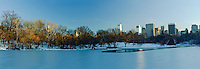 NYC, NY, Central Park, The Lake, NYC Skyline, Winter, Designed by Frederick Law Olmsted