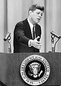 United States President John F. Kennedy conducts a press conference in Washington, D.C. on Wednesday, March 1, 1961..Credit: Arnie Sachs / CNP