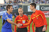 Davy Arnaud shaking hands with referee Landis Wiley...Kansas City Wizards defeated Colorado Rapids 1-0 at Community America Ballpark, Kansas City, Kansas.