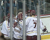 The Eagles celebrate Mullane's goal. - The Boston College Eagles defeated the University of Vermont Catamounts 4-1 on Friday, February 1, 2013, at Kelley Rink in Conte Forum in Chestnut Hill, Massachusetts.