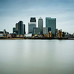 Urban environment with high-rise buildings. Canary Wharf, Docklands, London, UK