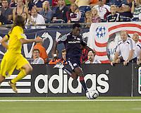 New England Revolution forward Kenny Mansally (7) dribbles down the wing. The New England Revolution tied Columbus Crew, 2-2, at Gillette Stadium on September 25, 2010.