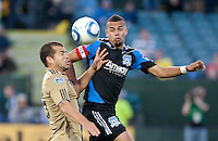 Jason Hernandez (right) battles for the ball against Alejandro Moreno (left). The San Jose Earthquakes defeated the Philadelphia Unioin 1-0 at Buck Shaw Stadium in Santa Clara, California on September 15th, 2010.