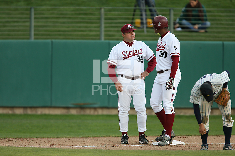 13 February 2007: Dean Stotz talks with Michael Taylor during Stanford's 5-1 exhibition win over Rikkio University at Sunken Diamond in Stanford, CA.