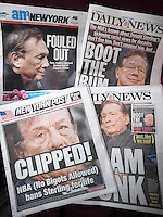 Headlines of New York tabloid newspapers are seen on Wednesday, April 30, 2014 reporting on Donald Sterling and National Basketball Association's punishment of him for his racist rant. Recently released tapes allegedly show Sterling ranting about black basketball players and spectators at the Clippers' games. The NBA banned him for life and fined him $2.5 million. (© Richard B. Levine)