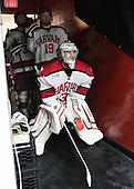 Jimmy Vesey (Harvard - 19), Raphael Girard (Harvard - 30) - The Harvard University Crimson defeated the Princeton University Tigers 3-2 on Friday, January 31, 2014, at the Bright-Landry Hockey Center in Cambridge, Massachusetts.