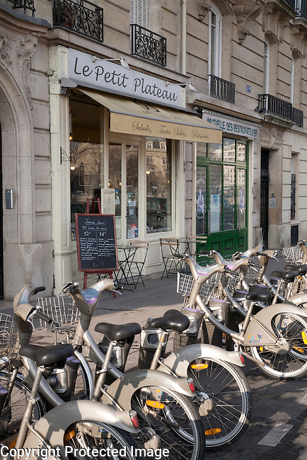 Petit Plateau Restaurant on Cite Island with Bikes for Hire in foreground in Paris, France