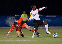 Sunny Jane (10) of Maryland is fouled by Austen Burnikel (20) of Clemson during the ACC tournament semifinals at the Maryland SoccerPlex in Boyds, MD.  Maryland defeated Clemson, 1-0, in overtime.