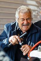 May 15, 2016; Commerce, GA, USA; NHRA top fuel driver Chris Karamesines works on his dragsters engine in the pits during the Southern Nationals at Atlanta Dragway. Mandatory Credit: Mark J. Rebilas-USA TODAY Sports
