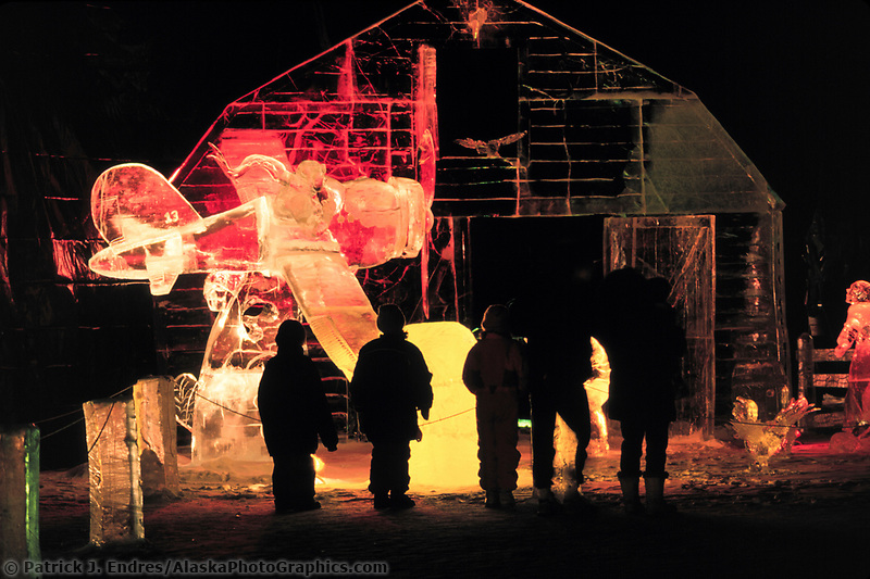 Barnstorming Multi block ice sculpture at the World Ice Art Championships held each march in Fairbanks, Alaska