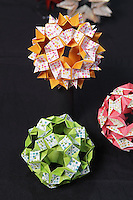 OrigamiUSA 2014 exhibition. Modular origami creations designed and folded by Isa Klein, Brazil.