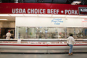 The meat and poultry section at Costco selling USDA Choice Grade Beef (USDA = United States Department of Agriculture). Costco, California, USA
