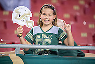 Tampa, FL - September 4th, 2016: A young South Florida Bulls fan smiles after a decisive USF win against Towson at Raymond James Stadium in Tampa, FL. (Photo by Phil Peters/Media Images International)