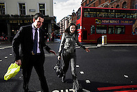 Chris Gower and Keeley Josling, recruitment consultants at Denovo in the City of London. The UK went into recession in the final quarter of 2008 as the City was hit hard by the global credit crunch.