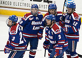 Scott Wilson (UML - 23), Derek Arnold (UML - 29), Chad Ruhwedel (UML - 3), Riley Wetmore (UML - 16), Josh Holmstrom (UML - 12) - The University of Massachusetts Lowell River Hawks defeated the Boston College Eagles 4-2 (EN) on Tuesday, February 26, 2013, at Kelley Rink in Conte Forum in Chestnut Hill, Massachusetts.