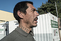 An ex Gang member who was deported for crimes in the US. Now he lives in the streets of Tijuana. Tijuana, Mexico. Jan 07, 2015.