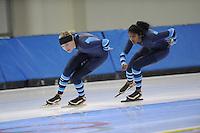 SCHAATSEN: SALT LAKE CITY: Utah Olympic Oval, 13-11-2013, Essent ISU World Cup, training, Manon Kamminga (NED), Anice Das (NED), ©foto Martin de Jong