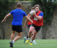 Nick Auterac of Bath Rugby in possession. Bath Rugby training session on August 4, 2015 at Farleigh House in Bath, England. Photo by: Patrick Khachfe / Onside Images