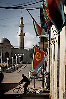 National flags adorn the streets of Asmara, Eritrea.