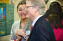 Public Health Poster Session. Class of 2015. Marissa Liu, left, Dean Rick Morin, M.D.
