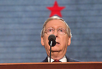 TAMPA, FL - August 29, 2012: Remarks by  Senate Republican Leader and Convention Temporary Chairman Mitch McConnell (KY) with a red star over his head at the 2012 Republican National Convention at the Tampa Bay Times Forum.