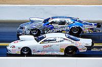 Jul. 18, 2010; Sonoma, CA, USA; NHRA pro stock driver Kurt Johnson (near) races Allen Johnson during the Fram Autolite Nationals at Infineon Raceway. Mandatory Credit: Mark J. Rebilas-