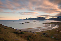 Autumn view over Ytresand beach, Moskenesøy, Lofoten Islands, Norway