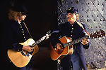 Civil  War musicians James Permane, left, and Jerry Vaughn sings near the fort's entrance during the evens at a Civil War re-enactment for the the Battle of Fort Morgan, Mobile, Al in 2001. Jim Bryant Photo. @2001. All Rights Reserved.
