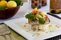 Grilled Mahi-Mahi: crab-smashed potatoes, citrus segments, blood orange caviar, lemon, basil, arugula, citrus-herb vinaigrette<br />