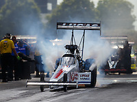 Jul 9, 2016; Joliet, IL, USA; NHRA top fuel driver Richie Crampton during qualifying for the Route 66 Nationals at Route 66 Raceway. Mandatory Credit: Mark J. Rebilas-USA TODAY Sports