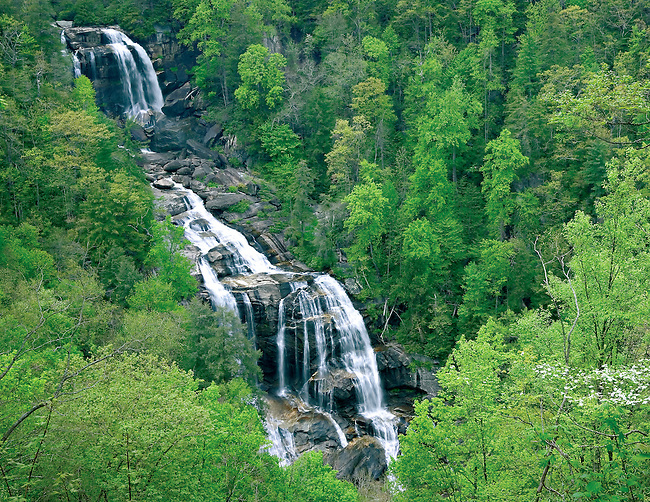 Whitewater Falls in springtime, North Carolina, USA