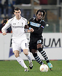 Calcio, Europa League Gruppo J: Lazio vs Tottenham Hotspur. Roma, stadio Olimpico, 22 novembre 2012..Tottenham Hotspur midfielder Gareth Bale is challenged by Lazio difender Luis Pedro Cavanda, of Angola, right, during the Europa League Group J football match between Lazio and Tottenham Hotspur at Rome's Olympic stadium, 22 November 2012..UPDATE IMAGES PRESS/Riccardo De Luca