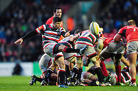 Ben Youngs of Leicester Tigers box-kicks the ball. Aviva Premiership match, between Leicester Tigers and Saracens on January 1, 2017 at Welford Road in Leicester, England. Photo by: Patrick Khachfe / JMP