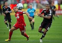 11 September 2010: D.C. United defender Jordan Graye #16 and Toronto FC forward Dwayne De Rosario #14 in action during a game between DC United and Toronto FC at BMO Field in Toronto..DC United won 1-0..