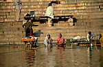 Asia, India, Varanasi. Ghats of Varanasi.