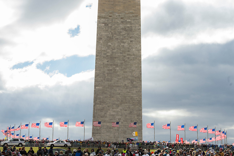 UNITED STATES - JANUARY 27: People gather near the base of the Washington Monument to hear speakers during the annual March for Life, January 27, 2017. Attendees march from the monument to Capitol Hill to oppose abortion. (Photo By Tom Williams/CQ Roll Call)
