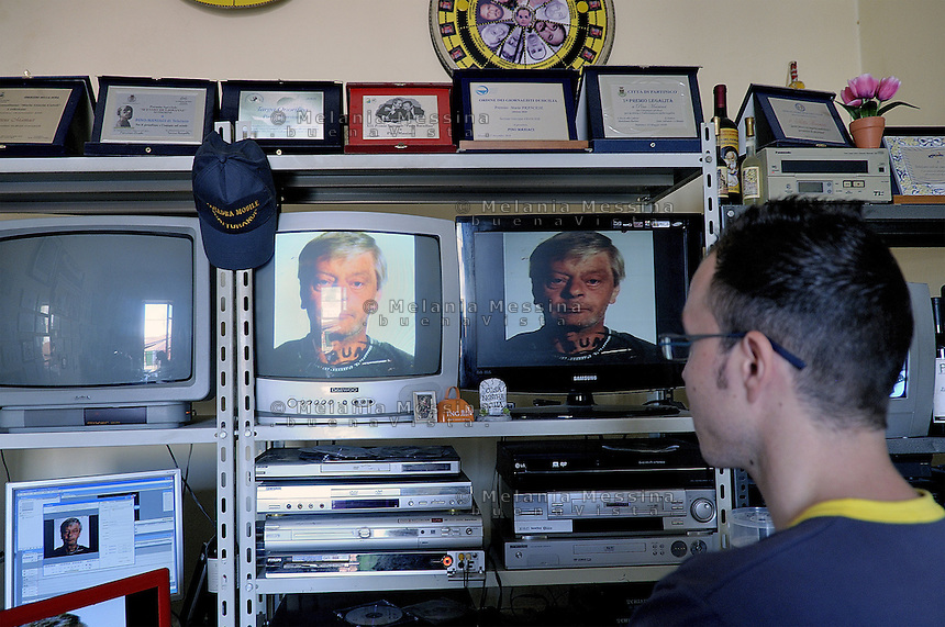 Partinico: office of antimafia tv station Telejato.<br />