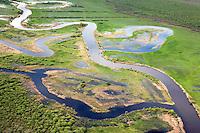 Winding river Emajõgi wetland, Tartu County in Estonia. Bog, marshland, spring.
