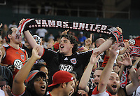 D.C. United fan celebrating the victory. D.C. United defeated The New England Revolution 3-2 at RFK Stadium, Saturday May 26, 2012.