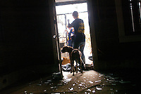 A dog takes one last look at his home as he is led out two and a half weeks after New Orleans was flooded.   The family had taken all their furniture but left the dog behind locked upstairs with one other dog.  Pasado's volunteers found that this was the case in many homes.