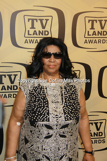 """Aretha Franklin receives the Ground Breaking Award at the 10th Anniversary of the TV Land Awards on April 14, 2012 to honor shows """"Murphy Brown"""", """"Laverne & Shirley"""", """"Pee-Wee's Playhouse"""", """"In Loving Color"""" and """"One Day At A Time"""" and Aretha Franklin at the Lexington Armory, New York City, New York. (Photo by Sue Coflin/Max Photos)"""