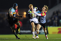 Tom Homer of Bath Rugby takes on the Harlequins defence. Aviva Premiership match, between Harlequins and Bath Rugby on March 11, 2016 at the Twickenham Stoop in London, England. Photo by: Patrick Khachfe / Onside Images