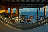 Hammock and outdoor furniture on a cruising diver's boat, Maldives.