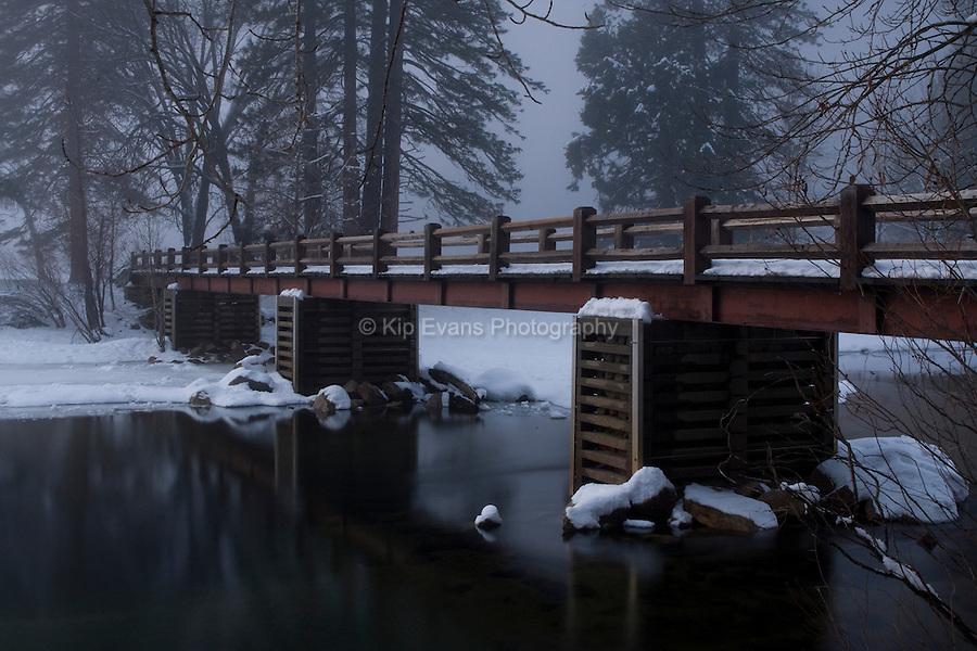 Sandy River Bank and Bridge, Merced River, Yosemite National Park.