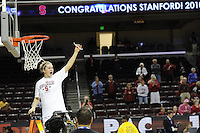 March 14, 2010.  JJ Hones cuts down the net after the Stanford Cardinal beat the UCLA Bruins to win the 2010 Pac-10 Tournament.