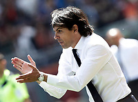 Calcio, Serie A: Roma, stadio Olimpico, 30 aprile 2017.<br /> Lazio's coach Simone Inzaghi gestures to his players during the Italian Serie A football match between AS Roma an Lazio at Rome's Olympic stadium, April 30 2017.<br /> UPDATE IMAGES PRESS/Isabella Bonotto